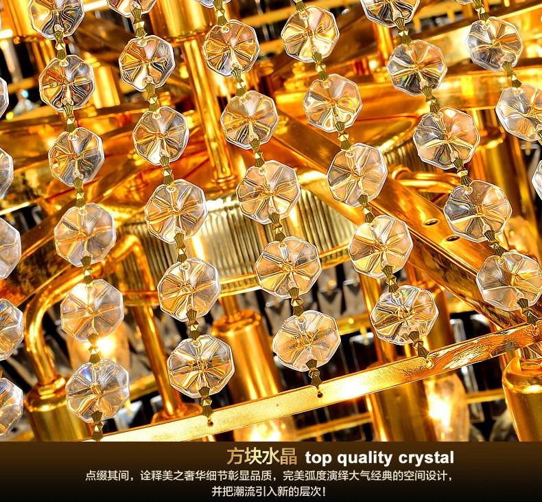 Modern Emas Kristal Chandelier Lampu Fixture Droplight Bulat Besar - Pencahayaan dalam ruangan - Foto 5