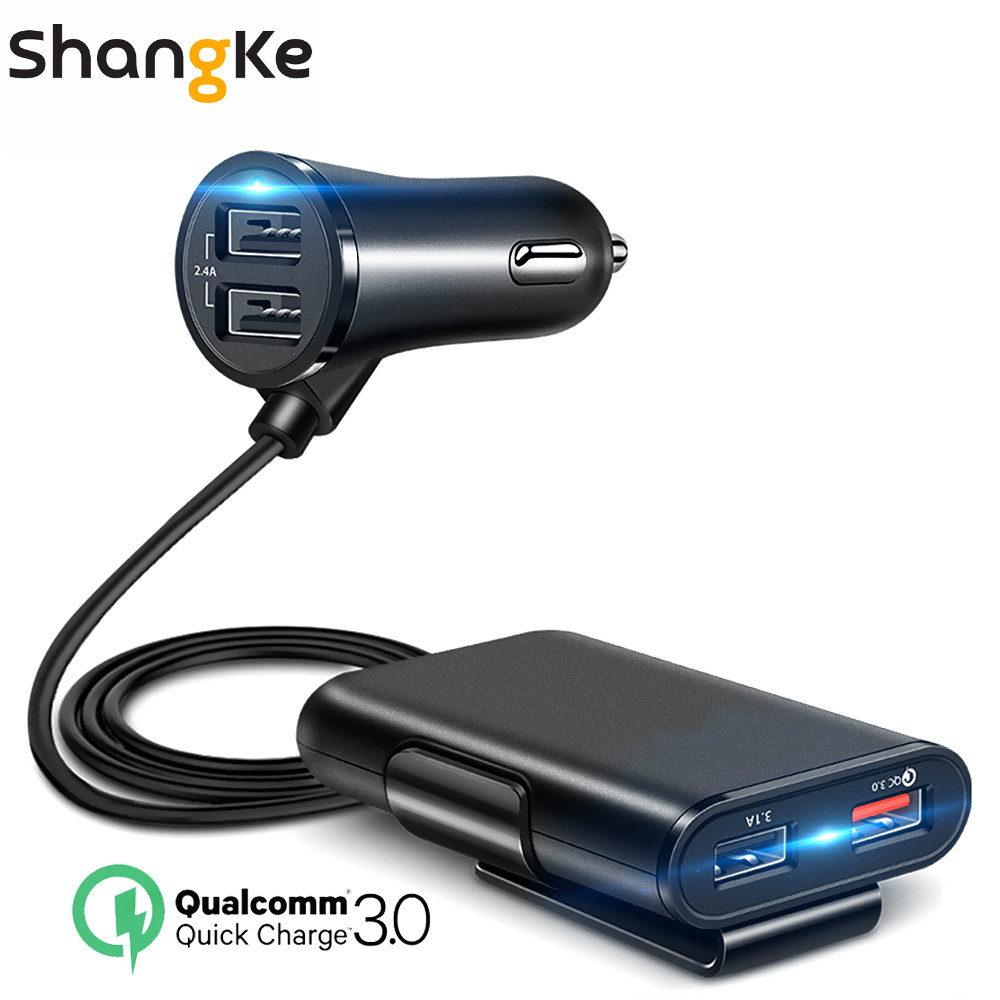 Shangke 4 USB QC 3.0 Car Charger Quick Charge 3.0 Phone Car Fast Front Back Charger Adapter Car Portable Charger Plug for iPhone