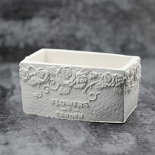 New Silicone Concrete Mold Rectangular with Embossed Patterns Cement Planter Mould