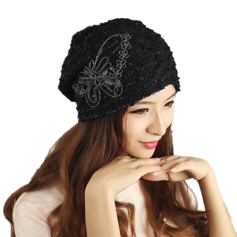 New Fashion Paillette Bow Lace Hats Casual Style Cap Elegant Spring and Autumn Vintage   Skullies   Feminina   Beanies   Hats for Women