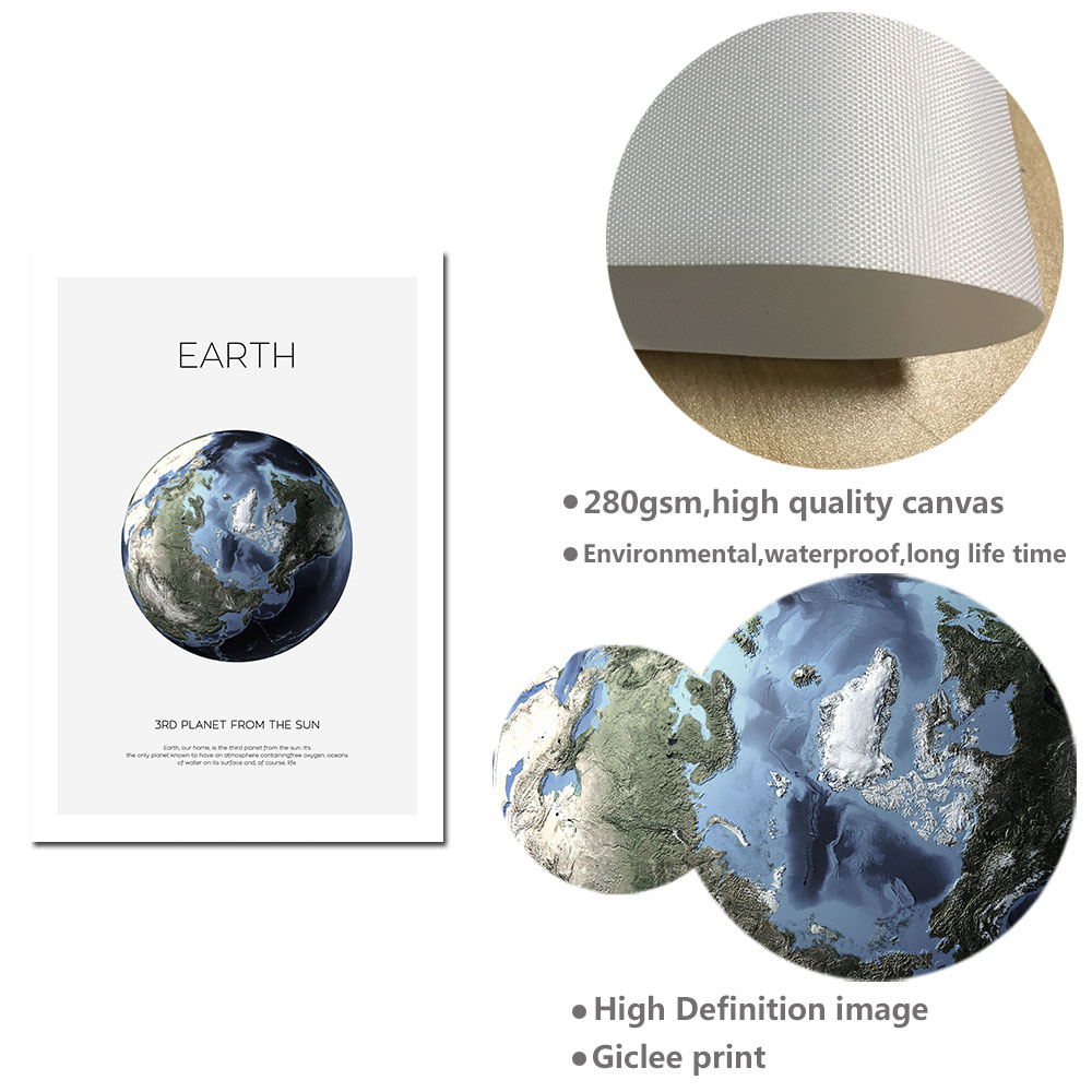 Solar System Planet Earth Moon Wall Art Canvas Poster Universe Space Print Decor