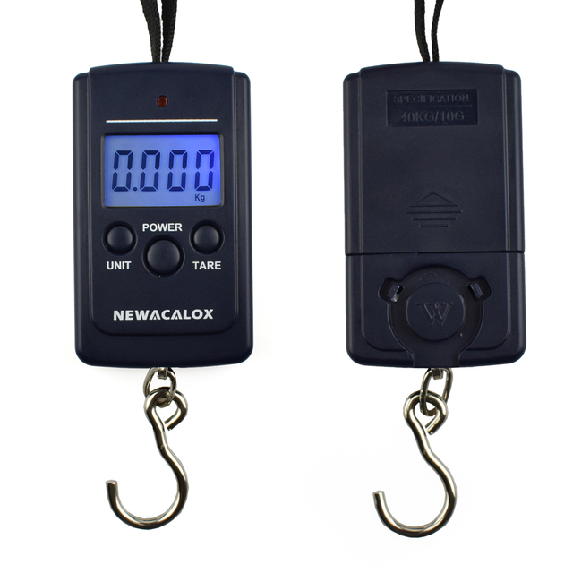 For Fishing Luggage Travel Weighting Steelyard Hanging Electronic Hook Scale NEWACALOX 40kg x 10g Mini Digital Scale