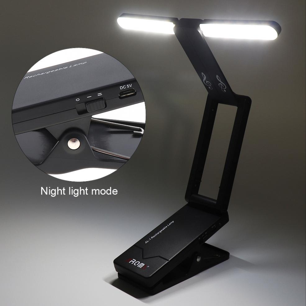 New! Rechargeable Music Stand Lamp Folding LED Clip-on Light for Guitar Piano Light and Stage Lighting ...