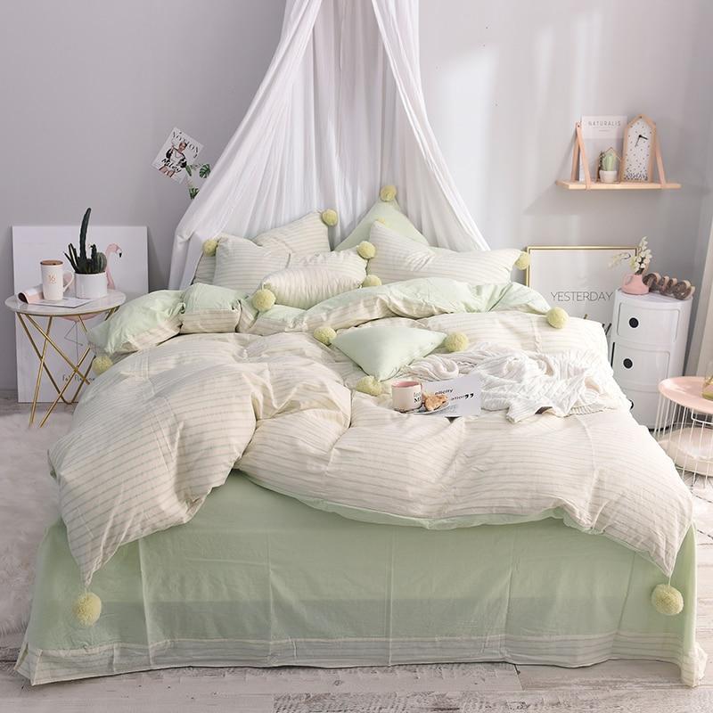cute ball pink green stripe print 100 cotton bedding set twin queen king size bed set soft bed sheet set duvet cover pillowcase
