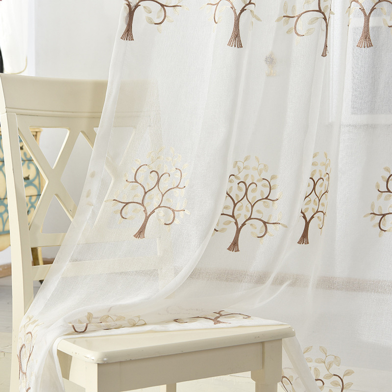 NORNE Embroidered Semi White Tulle Sheer Curtains for Living Room, - Home Textile - Photo 4