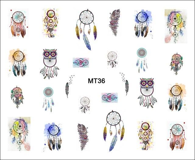 1 Hoja de Uñas MT36 Moda Búho Dream Catcher POP Nail Art Consejos Tatuaje de la Etiqueta engomada Para El Arte Del Clavo de Transferencia de agua Del Clavo de DIY herramienta
