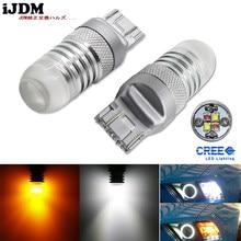 IJDM araba 7443 LED diyotlar beyaz/Amber çift renk Switchback SRCK 7443 7444 T20 W21/5 LED ampuller için ön dönüş sinyal lambaları, 12V