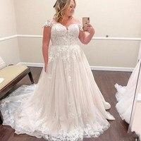Plus Size Wedding Dresses 2019 Tulle Backless Applique robe de mariee A Line Beach Wedding Bridal Gowns Vestidos De Novia