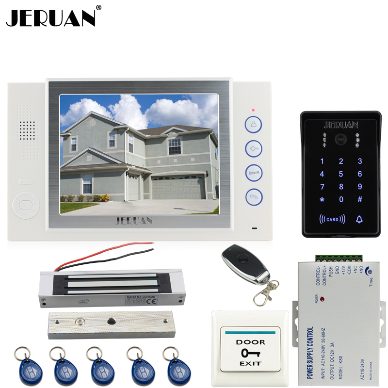 JERUAN 8 inch TFT video door phone Record intercom system New RFID waterproof Touch Key password keypad Camera 8G SD Card Free jeruan 7 lcd video door phone record intercom system 3 monitor new rfid waterproof touch key password keypad camera 8g sd card
