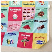 Free Shipping 2016DT Cartoon Cute Food Kitchen Table Cloth Material Diy  Handmade Checkered Tablecloths Color Patchwork Curtains
