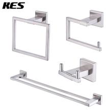 KES набор аксессуаров для ванной комнаты из 4 частей SUS 304, нержавеющая сталь, матовая отделка, настенное крепление, LA242-43