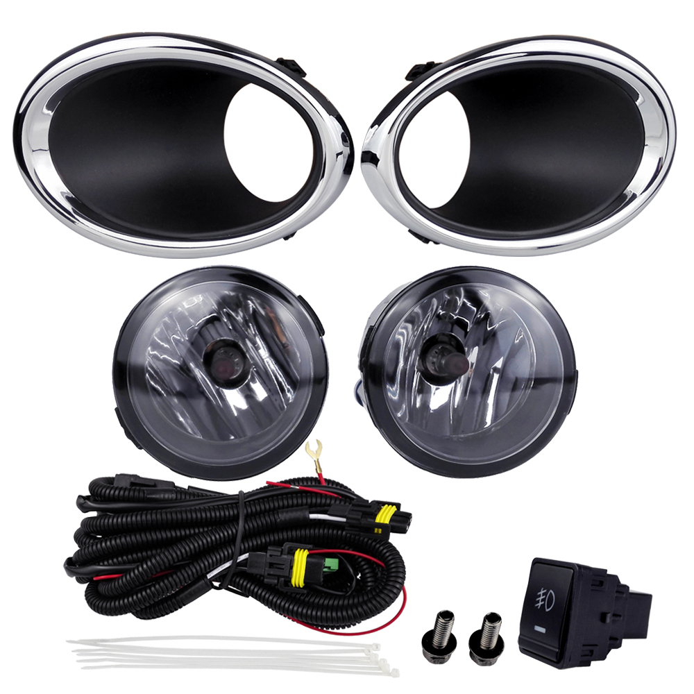 For NISSAN QASHQAI 2016 Fog Light Assembly Car Lights ABS Plastic 4300K Yellow 12V 55W Halogen Lamp Accessories Plating