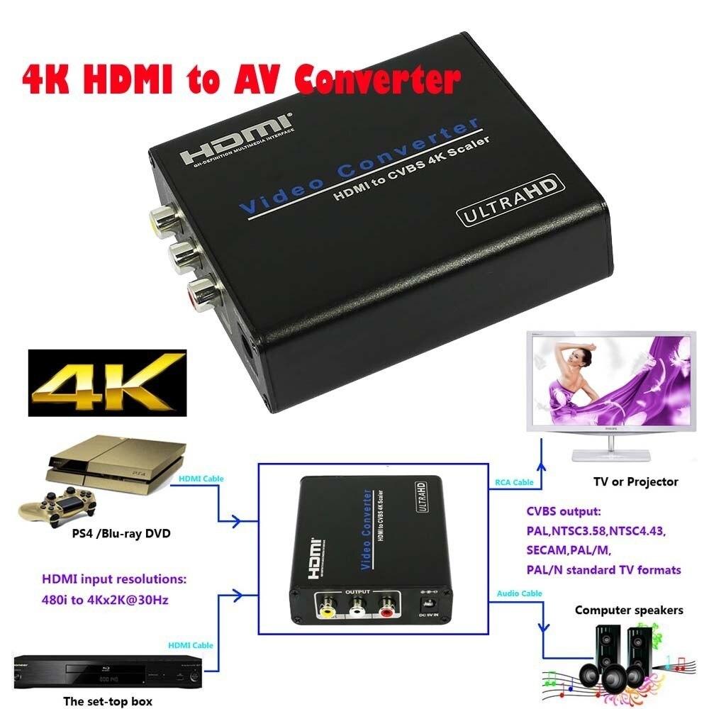 Portable 4K HDMI to AV CVBS Scaler Converter Audio Extractor To FL/FR RCA Stereo Audio HD 1080p 4K*2K CRT TV Monitor Projector цены онлайн