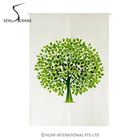 SewCrane Abstract Stylized Trees Green Leaves Home Restaurant Door Curtain Noren Doorway Drapes Room Divider