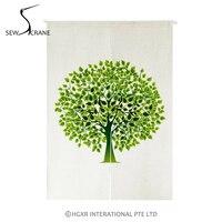 SewCrane Abstract Stylized Trees Green Leaves Home Restaurant Door Curtain Noren Doorway Drapes Room Divider