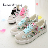DreamShiningWomen Shoes New Fshion Floral Flats Shoes Zapatos Mujer Printed 35 40 Plus Size Shoes Women