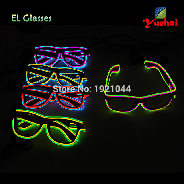 NEW Style Double Colors Flashing EL wire Led Glasses Neon GLowing Glasses Lighting Colorful Glowing Gifts For Party Decoration