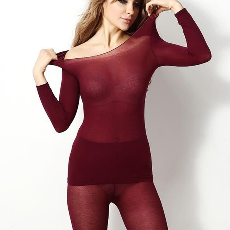 Women Winter Seamless Thermal Inner Wear Set Warm Tops+Pants 2Pcs Suit KS-shipping