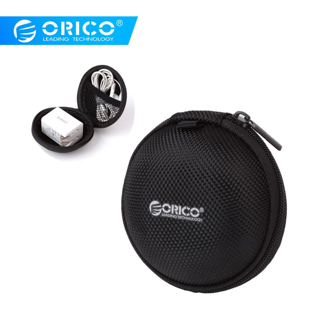 ORICO Portable Case for Earphone Case Mini Zippered Round Storage Hard Bag Headset Box for Headphones SD TF Cards AAccessories in Earphone Accessories from Consumer Electronics