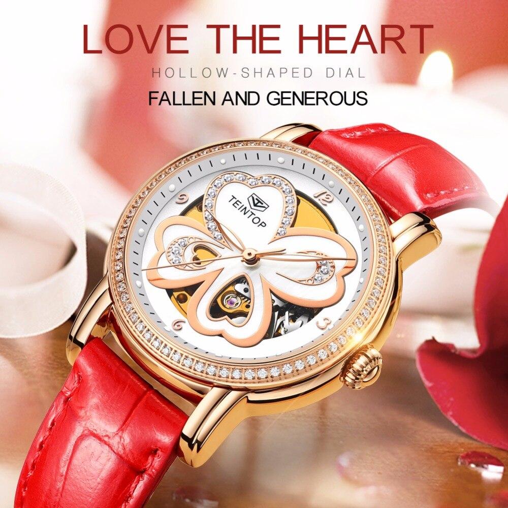 Horloge Teintop Lucky Flower montre mécanique femme ceinture cuir mode or Rose argent cadran creux lumineux relogio feminino