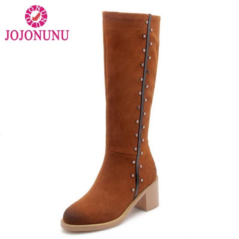 Taille Color Dames Chaussures Jojonunu 33 Femmes 40 Hiver Rivets De Longues Genou Bottes Véritable caramel En Zipper Cuir Noir Mode Hw68Bdwq