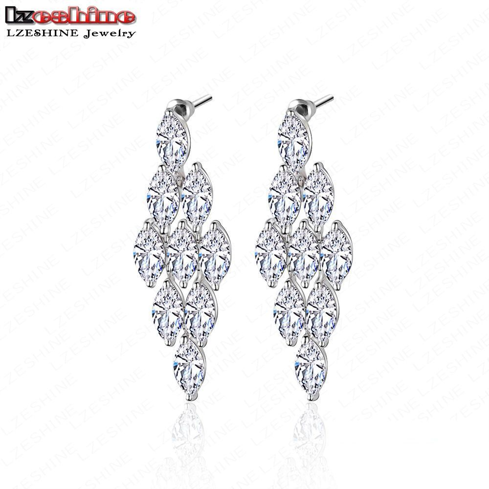 LZESHINE Elegant Long Earrings For Wedding Party Top Quality AAA – Cz Chandelier Earrings