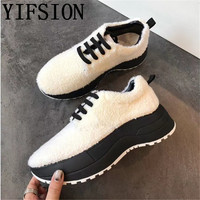 YIFSION New White Genuine Leather Wool Women Flats Shoes Round Toe Lace Up Women Warm Flat Shoes Casual Platform Shoes Woman