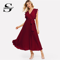Sheinside Burgundy V Neck Ruffle Trim Wrap Long Dress Elegant Sleeveless Women Summer Dresses 2019 Ladies A Line Pleated Dress