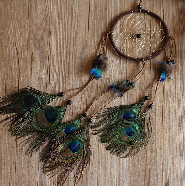 Buy peacock feather dream catcher net for Where can i buy peacock feathers craft store