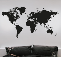 Fashion Large World Map Wall Stickers Creative Vinyl Wall Art Bedroom Home Decorations Wall Decals Removable