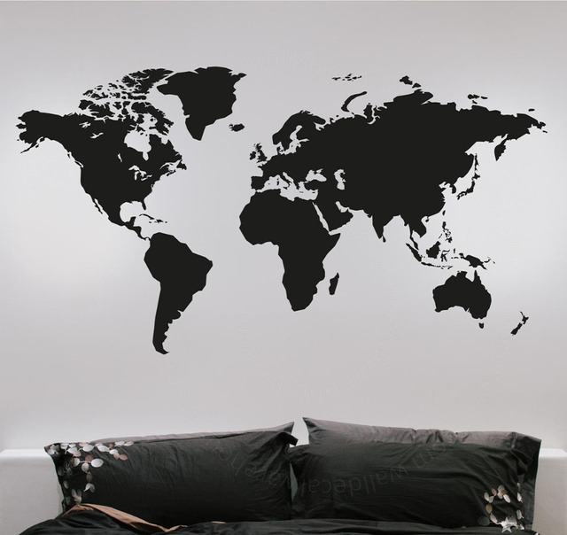 Fashion Large World Map Wall Stickers Creative Vinyl Wall Art - Vinyl wall decals removable