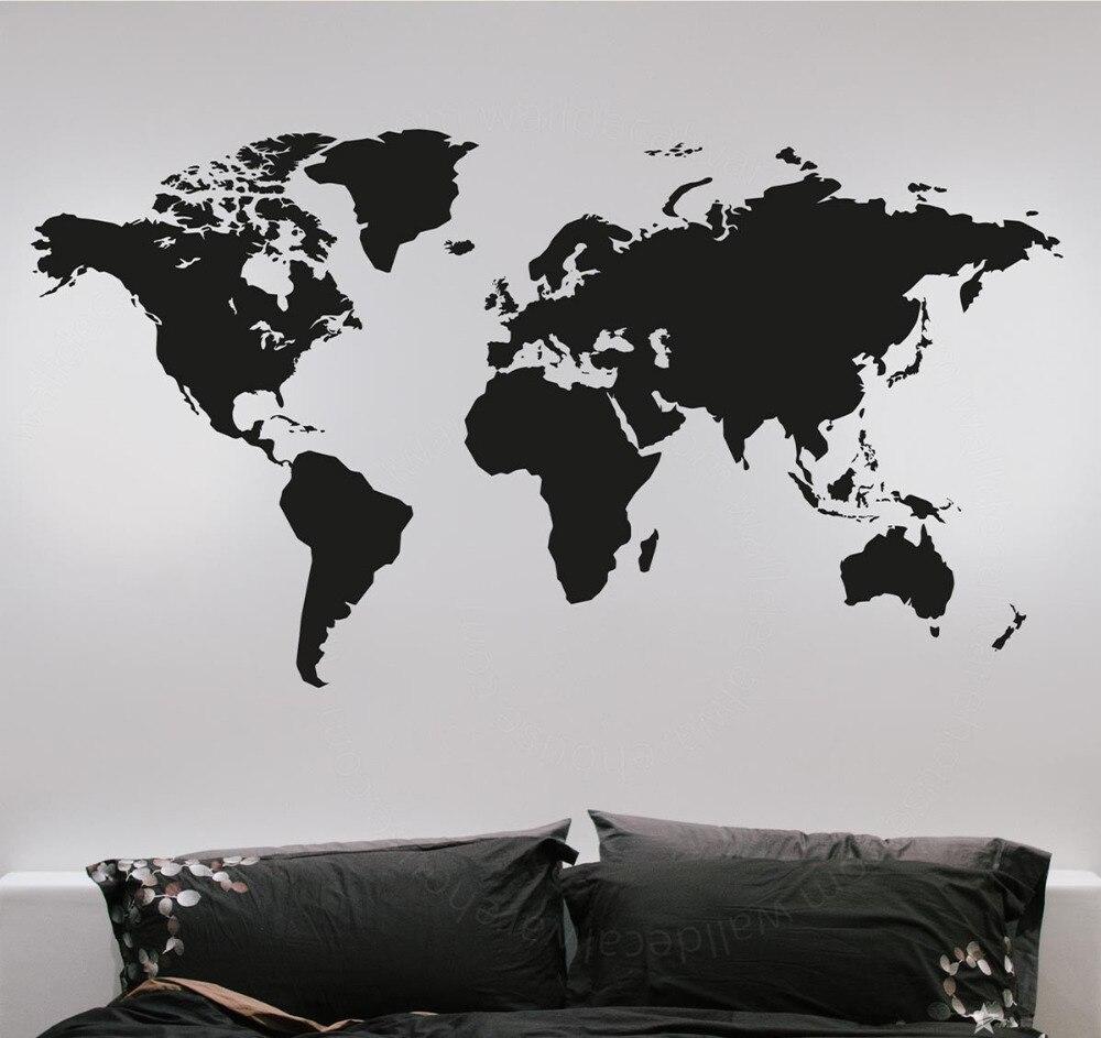 Mode Grande Carte Du Monde Stickers Muraux Creative Vinyle Mur Art Chambre Décorations pour La Maison Stickers Muraux Amovibles Mur Graphique ZA993