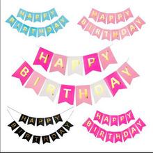 Multi Themes baner urodzinowy Baby Shower dekoracje na imprezę urodzinową foto budka urodzinowe flagi Garland flagi tanie tanio ZQCXLD Banery 16bb172 paper Birthday party