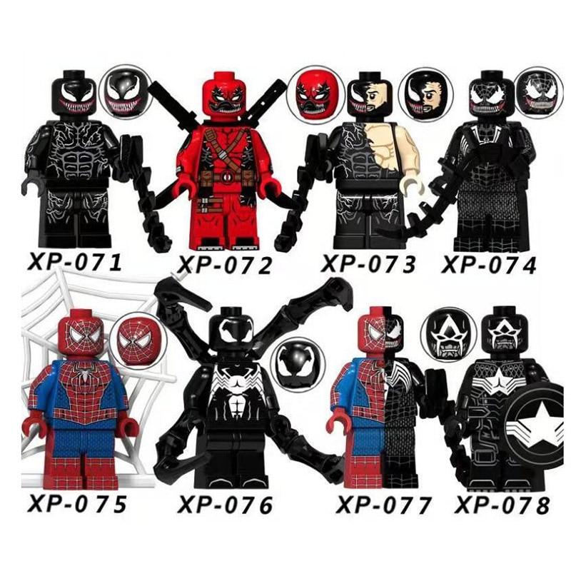 8pcs Dc Super Hero Spider Man/Venom/Deadpool Figure Building Blocks Figure Bricks Compatible With Bela