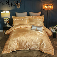 Papa&Mima Jacquard Bedlinen Queen King Size bedding set flatsheet pillowcase Duvet cover Set Silk and Cotton fabric dropshipping