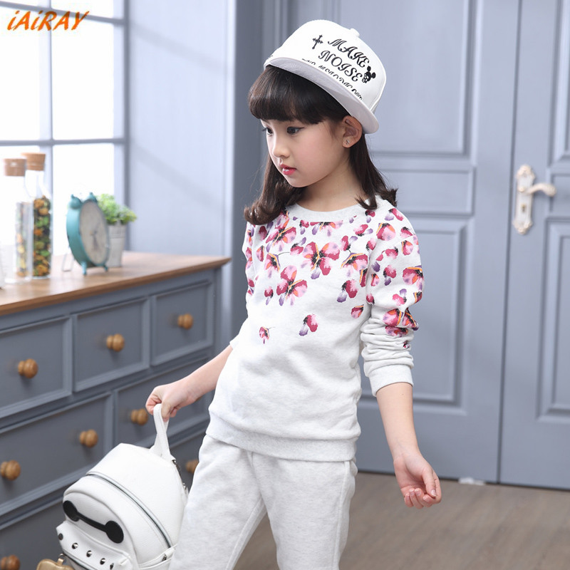 iAiRAY brand spring new arrival fashion girl pullover floral sportwear long sleeve o-neck girls clothing set white pants 2016 spring girls clothes girls clothing sets new arrival female child flower print o neck pullover short skirt set baby twinset