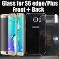 2 unids/lote frente cubierta completa cobertura curvo de vidrio templado protector de pantalla 3d para samsung galaxy s6 edge/edge plus + vidrio trasero