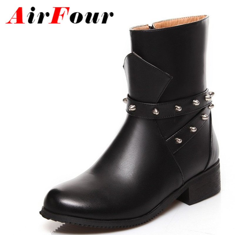 ФОТО Airfour New Black Mid-calf Boots Shoes Woman Rivets Charms Fashion Winter Boots Round Toe Zippers Flats Boots Size 34-39
