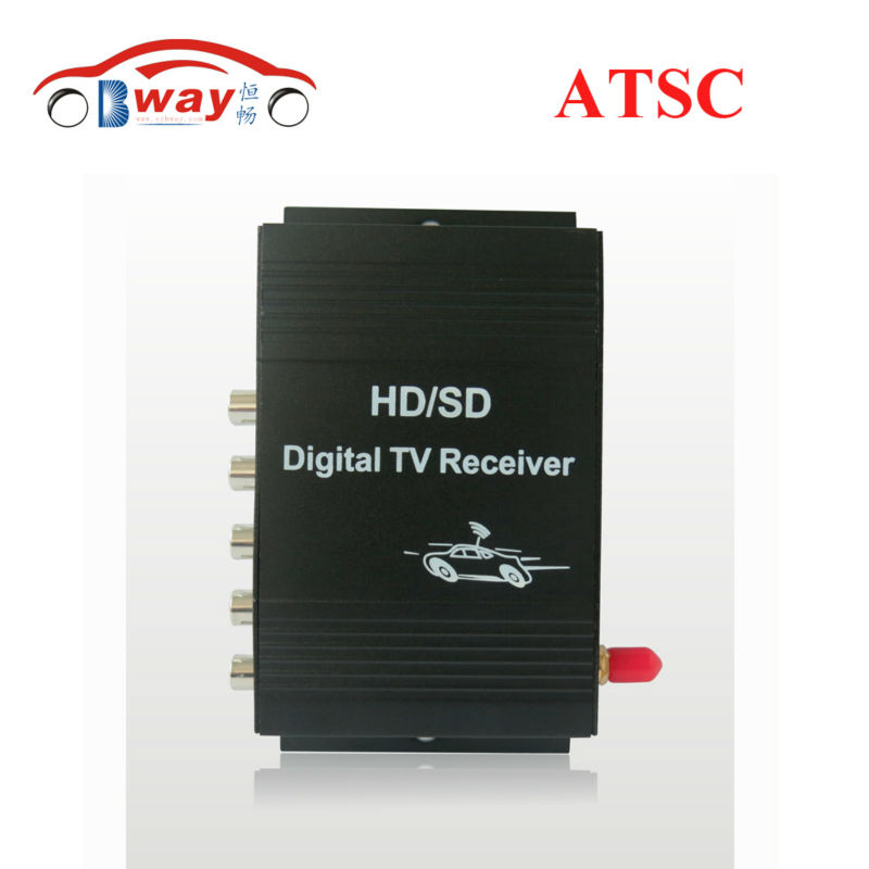 Free shipping car ATSC car digital TV box with built-in 4 video output one tuner, special for USA, Mexico and Canada free shipping isdb t quad tuner pcie card tbs6814 perfect for brazil sbtvd and japan isdb t tv programs