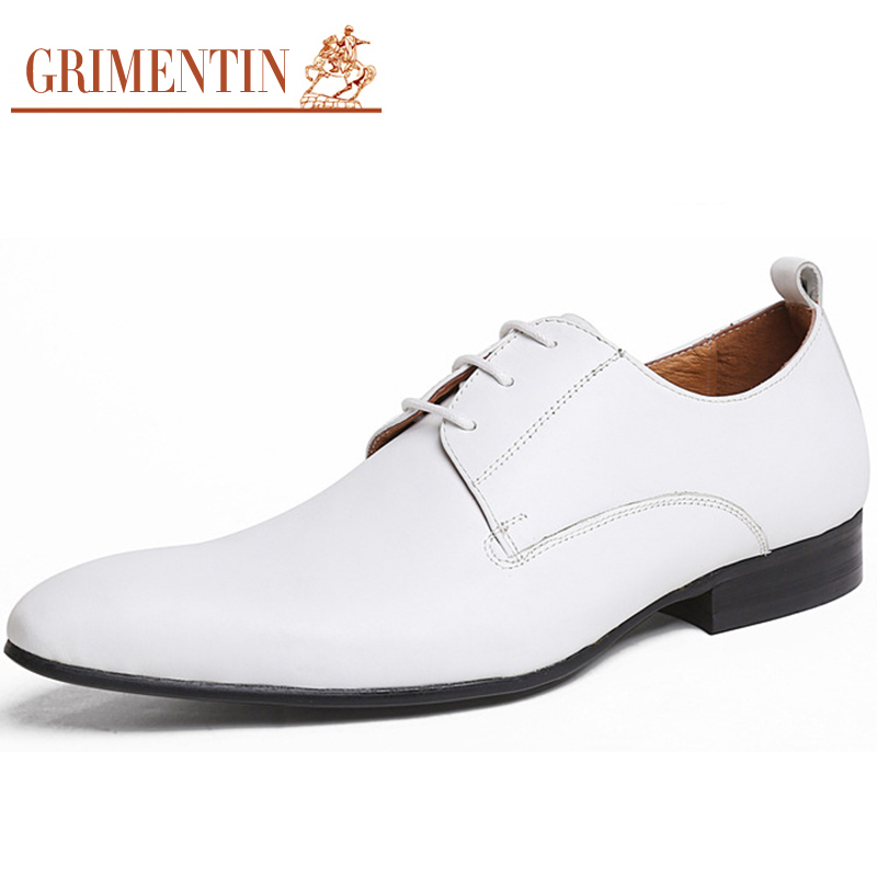 GRIMENTIN White Dress Shoes For Men Genuine Leather