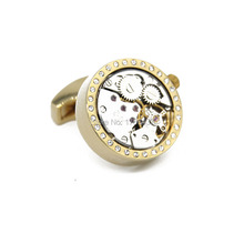 Wholesale&retail 2015 New Functional Watch Cufflinks of Wedding White Crystal cufflinks Best Gift cuff links Promotion