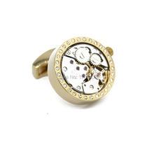 Wholesale&retail 2015 New Functional Watch Movement Cufflinks White Crystal  Best Gift cuff links Steampunk Gear cufflinks