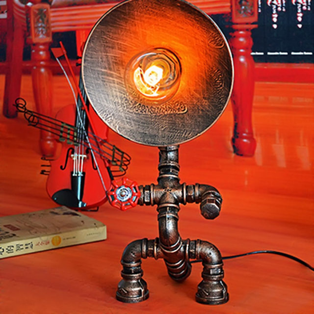 Led Lamp Table Light Loft Edison American Industrial Vintage Wrought Iron Water Pipe Decoration Desk Lamp