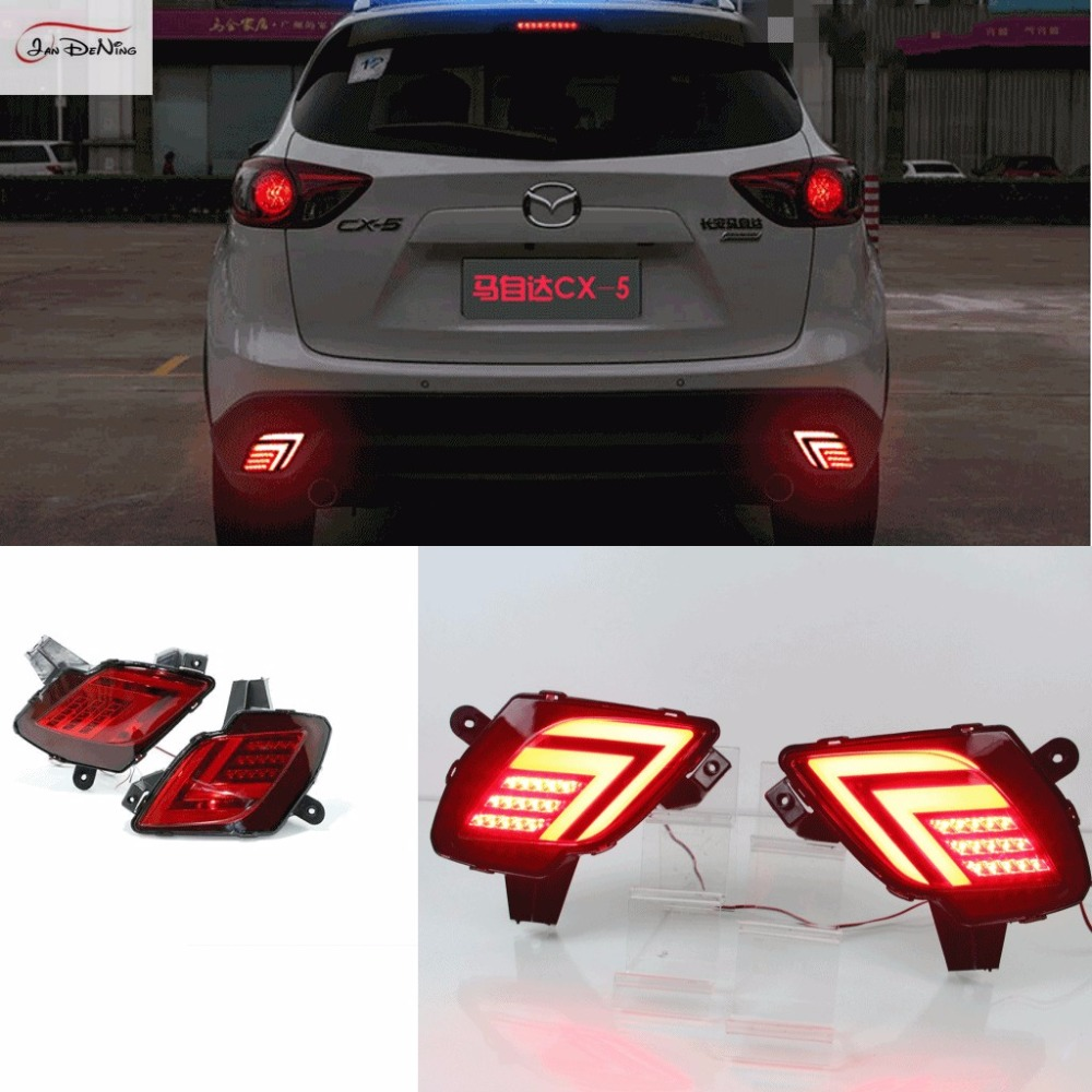 JanDeNing Rear Bumper Reflector Fog Lamp LED Brake Lights Night Driving Lights DRL for 2013-2016 Mazda CX-5 for opel astra h gtc 2005 15 h11 wiring harness sockets wire connector switch 2 fog lights drl front bumper 5d lens led lamp