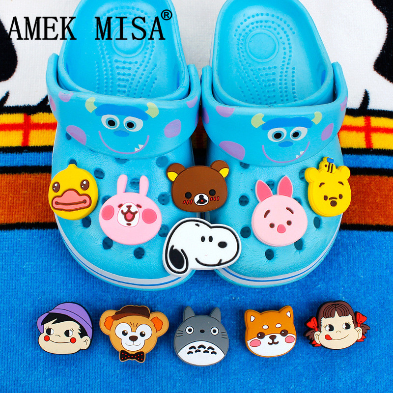 Cartoon Anime Combinations Shoe Accessories Charm Decorations 20 Pcs A Set PVC Garden Shoes Buckle Fit Bands/Croc/Wristbands D04