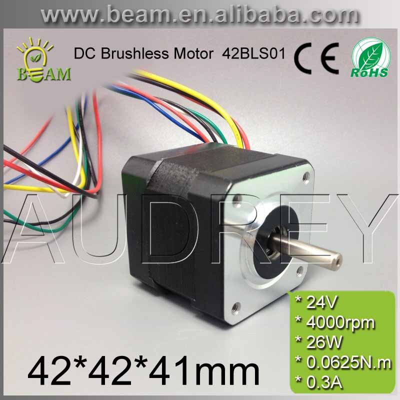 ФОТО 42BLS01 24v 26w 4000 rpm brushless dc motor for DIY 42*42*41mm 5mm round shaft 3-phase 0.3A bldc motor