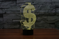 Creative 3D LED 7 Color US Dollars Changing Visual Illusion Light Bedroom Light Action Figures PMMA