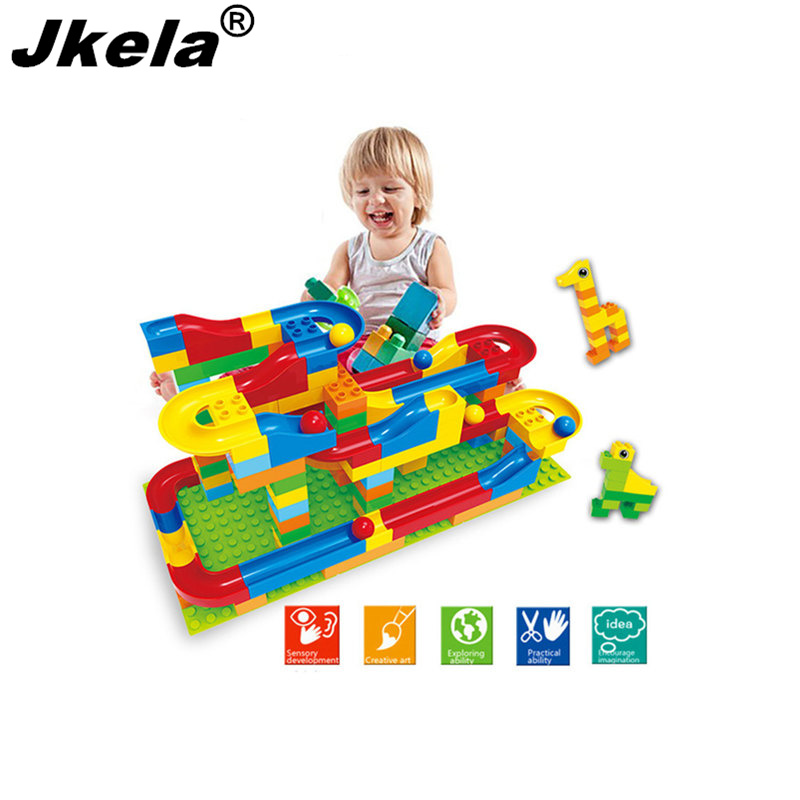 [Jkela] Run Rolling Ball Rail Building Block Enlighten Bricks Trajectory Education For Kids Compatible with Legoingly Duplo lego education 9689 простые механизмы