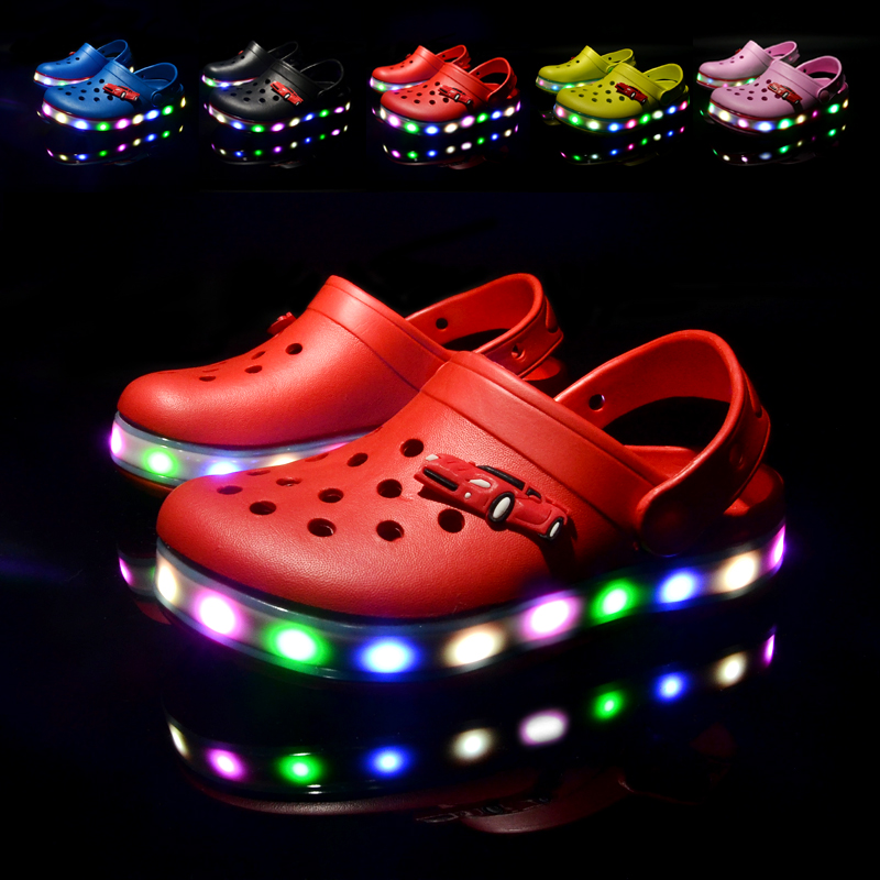 17 NEW Arrival Youth Boys/Girls Fashion Summer Sandals Beach Croc Fit Shoe/Flip Flops Slippers EVA Shoes LED Light Shoes