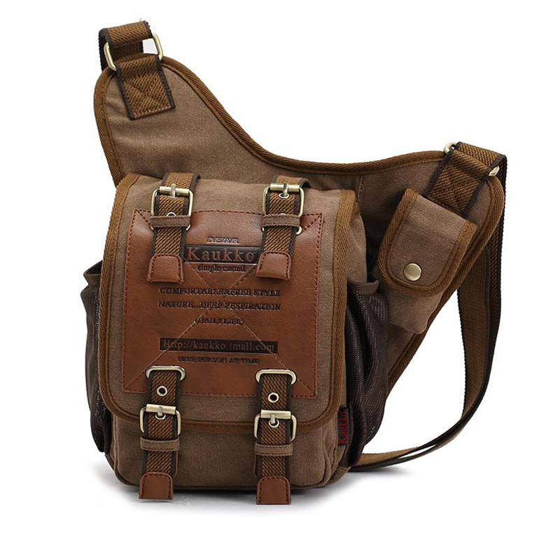 Гарячі продажі KAUKKO марка ретро vintage полотно сумка подорожі чоловіки сумку людини crossbody сумки плеча сумки для чоловіків